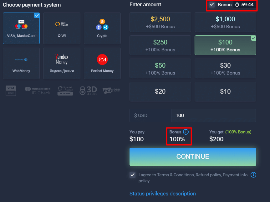expertoption registration bonus