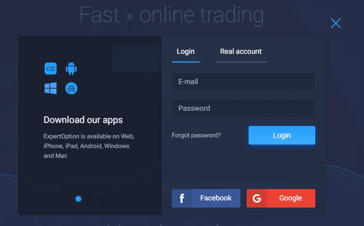 expert option login form
